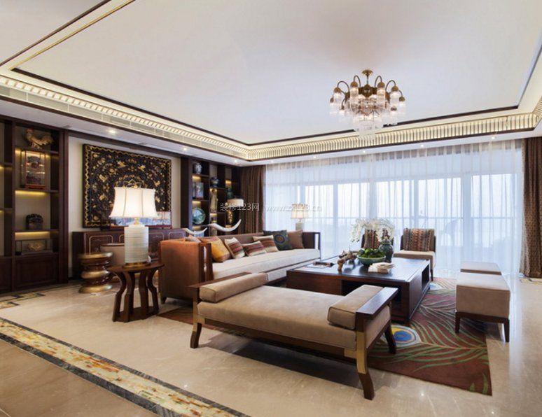 2018东南亚别墅客厅家具摆放设计图片
