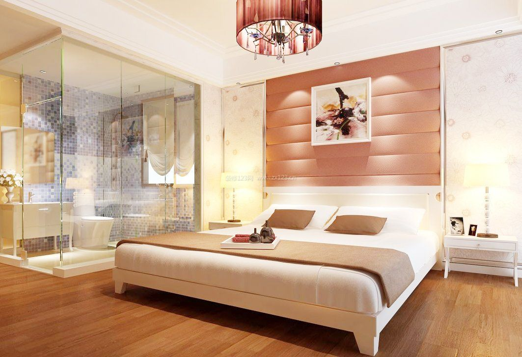 2018现代卧室背景墙软包图片_装修123效果图