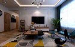 现代北欧风格客厅石膏板电视背景墙装修效果图片图片