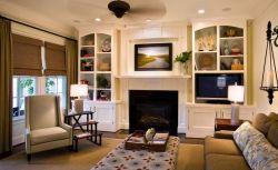 2018室内客厅壁炉电视背景墙装修效果图