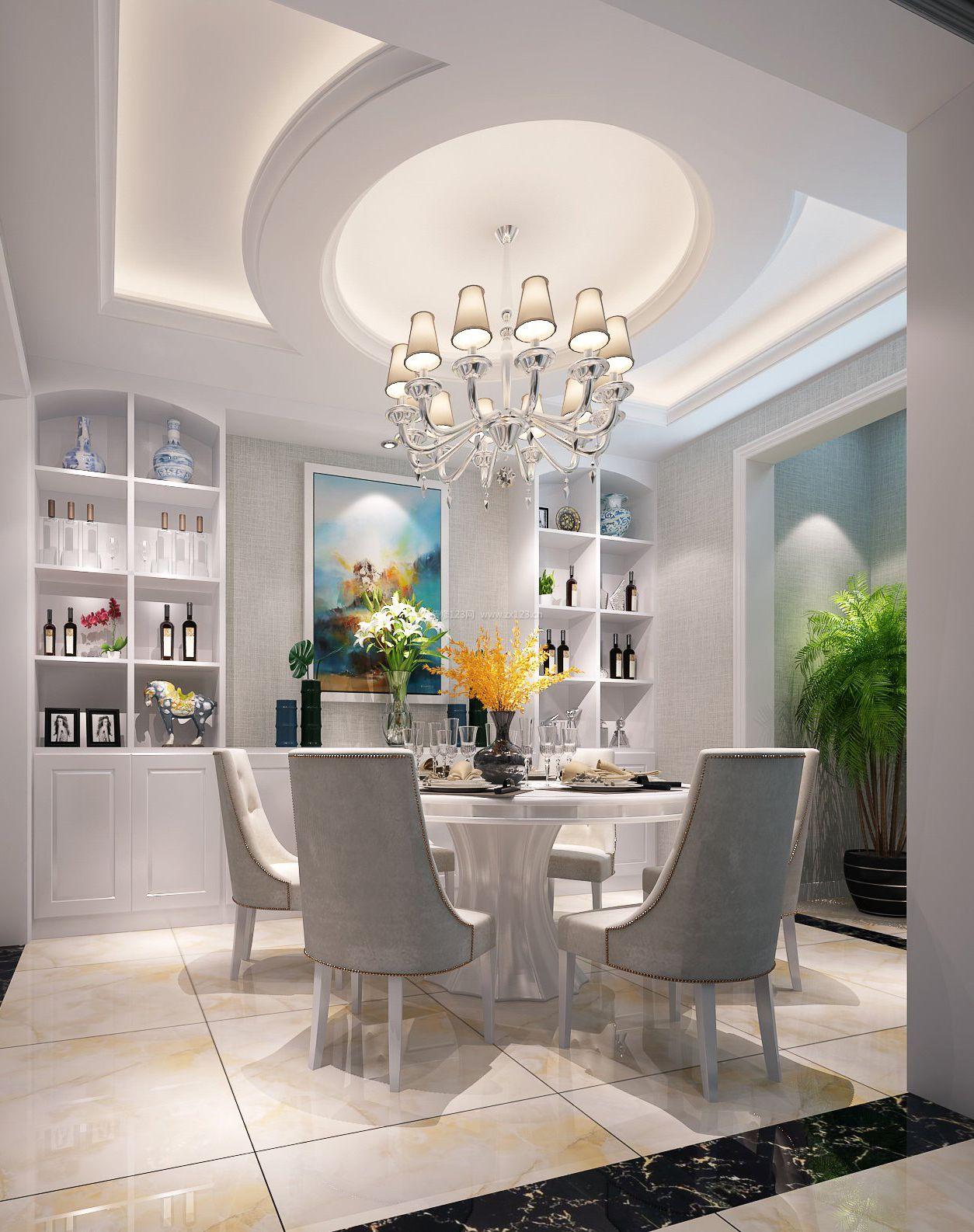 2018饭厅墙壁酒柜设计装饰效果图_装修123效果图
