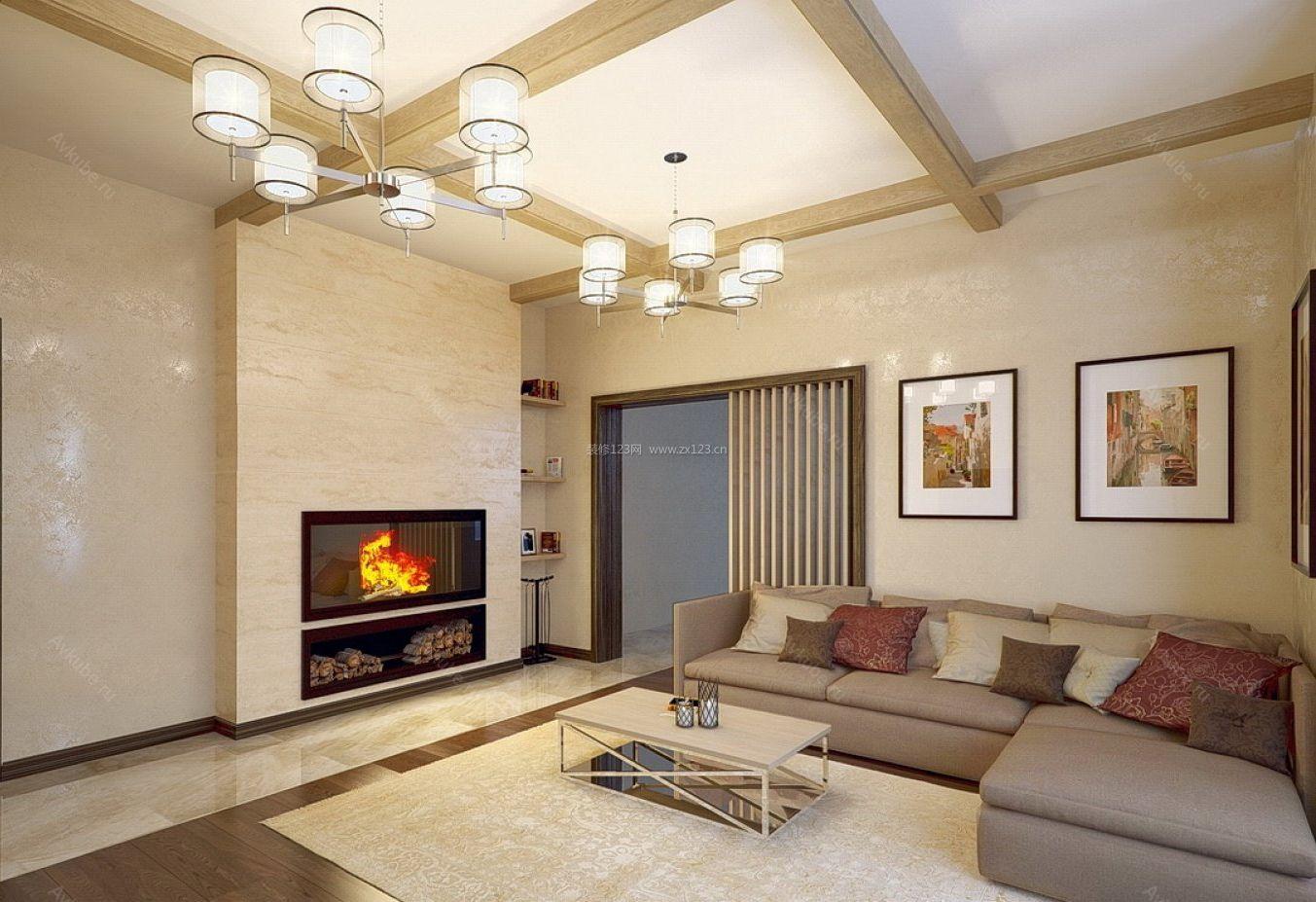现代家庭别墅室内壁炉设计图片2018