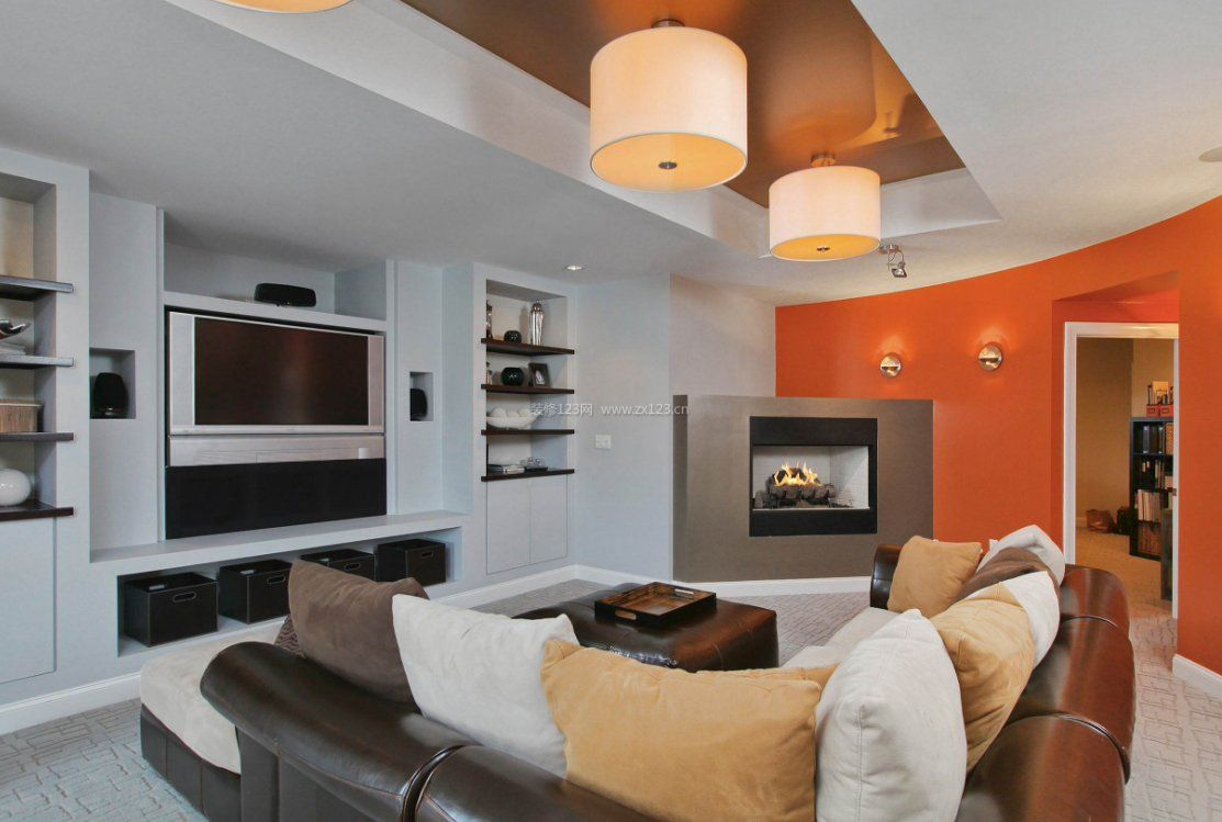 别墅小客厅室内壁炉设计图片2018
