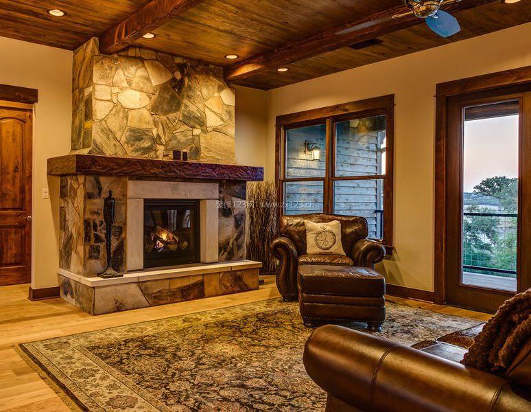 美式古典别墅壁炉设计图片