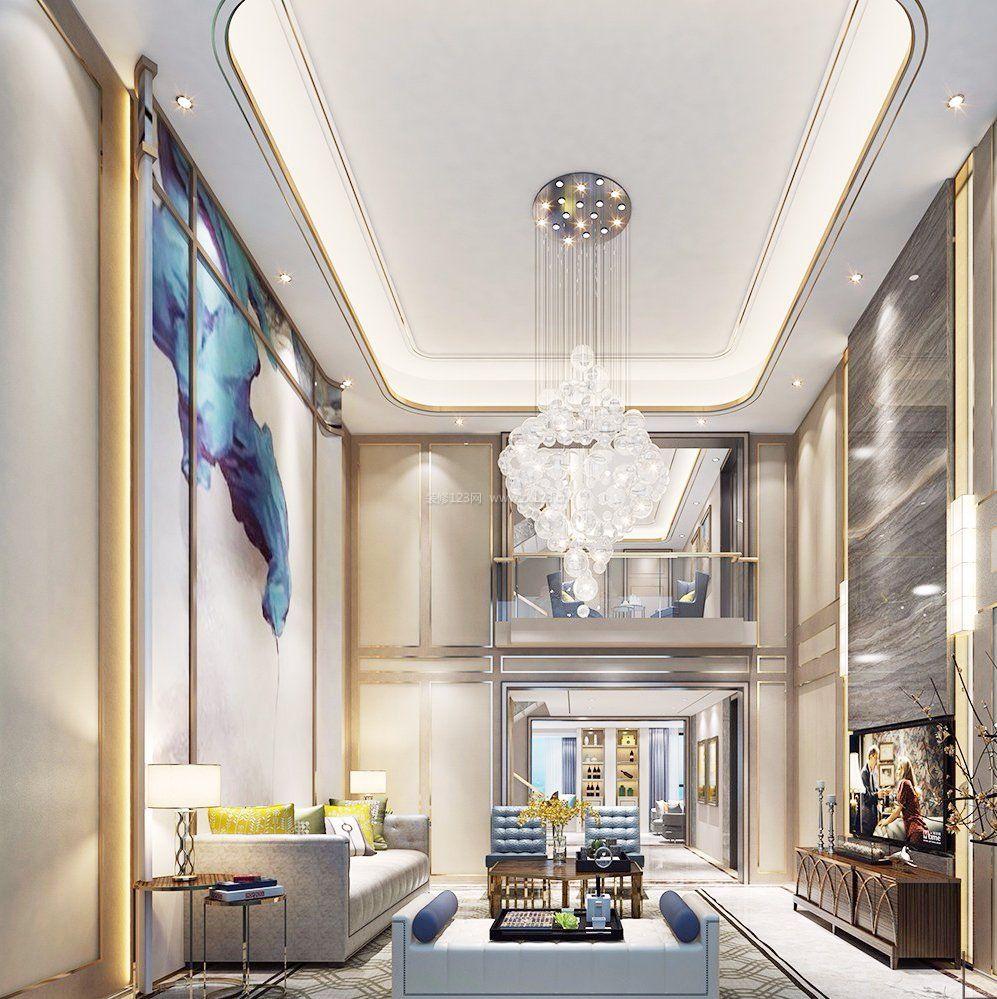 2018别墅客厅水晶灯设计效果图图片