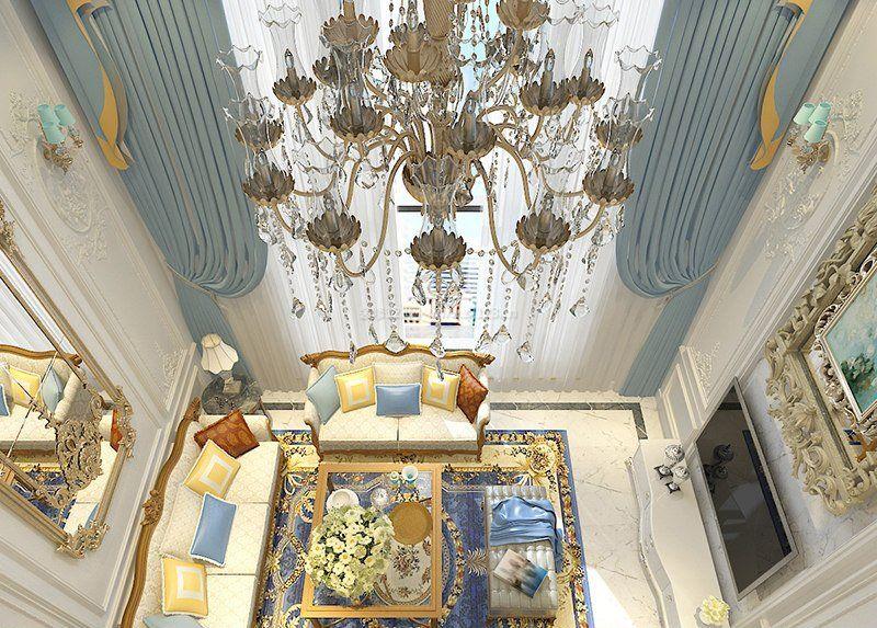 2018法式别墅室内客厅吊灯