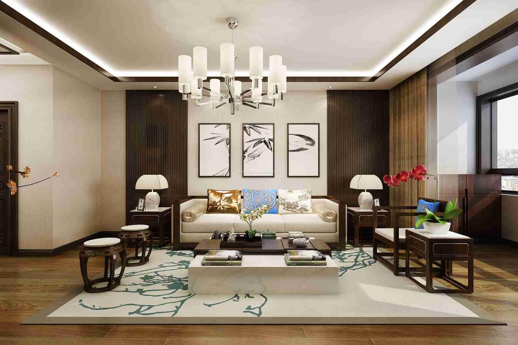 2017新中式客厅地毯搭配装修效果图片大全图片