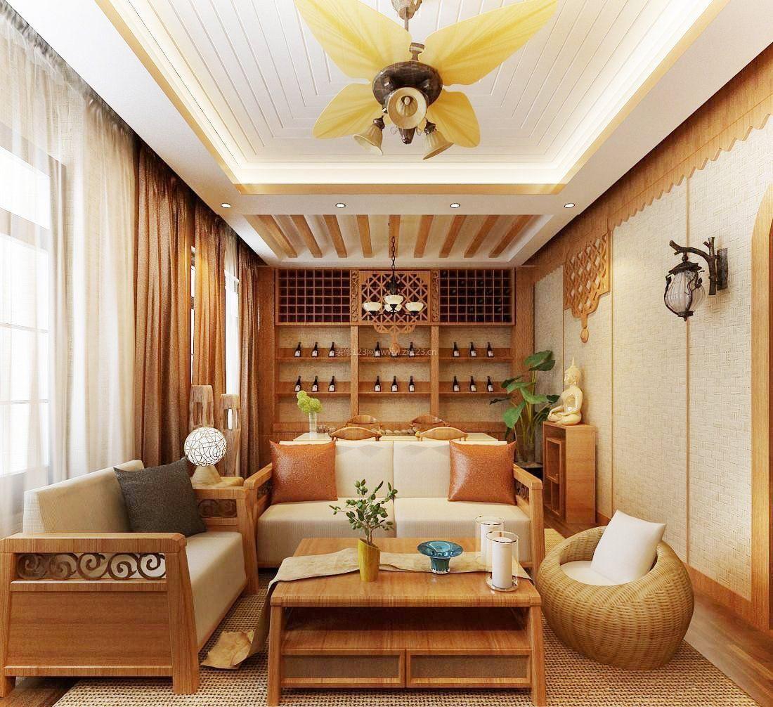 2018东南亚家居客厅沙发摆放效果图