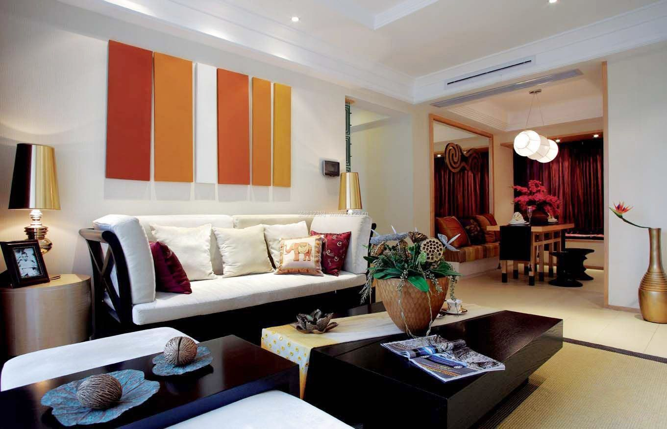 2018东南亚家居客厅沙发背景墙效果图