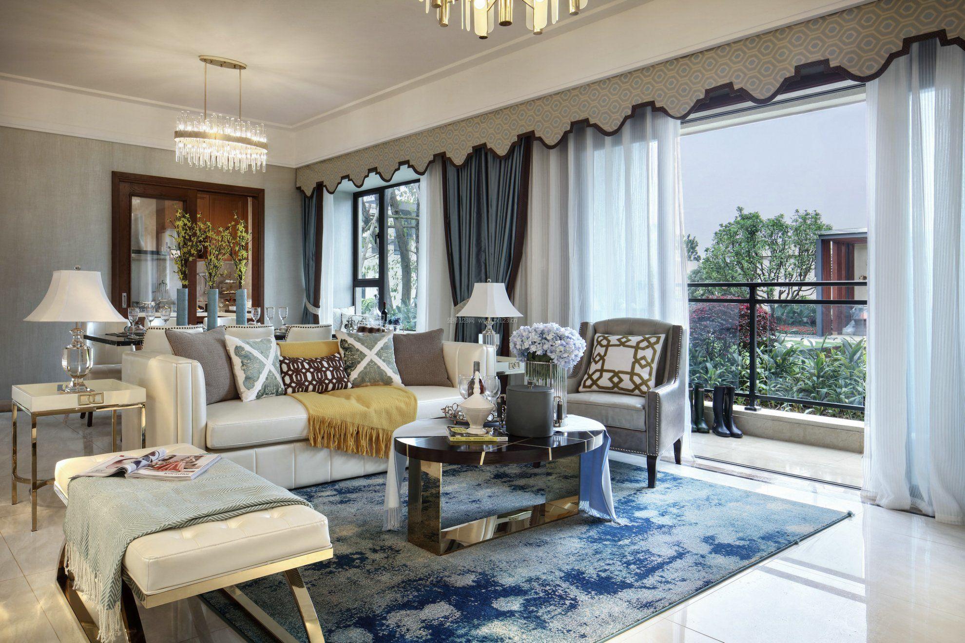 港式风格室内样板间客厅地毯装饰设计案例