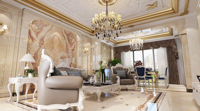 2018豪华家装客厅欧式风格效果图图片