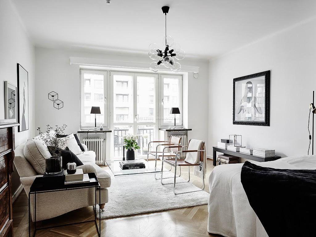 2018黑白北欧风格客厅家具效果图