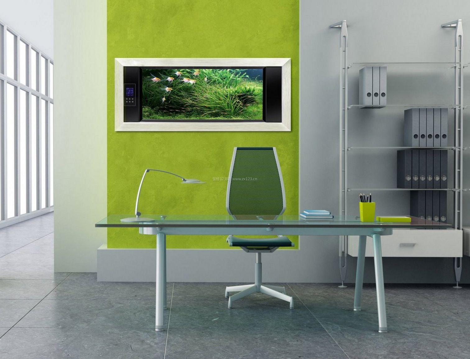 办公室墙面绿色装饰效果图片2018_装修123效果图
