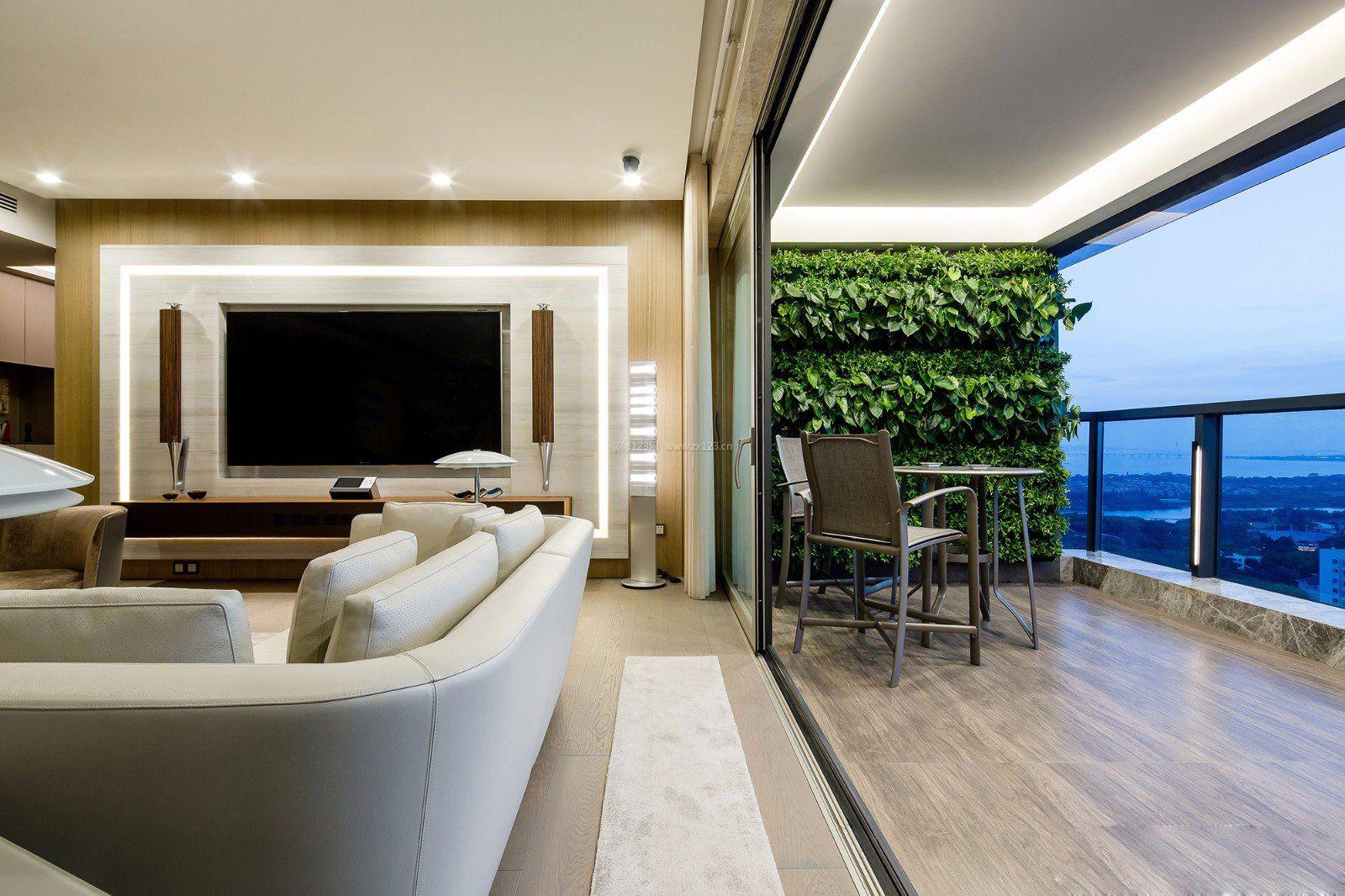 现代客厅阳台植物墙设计图_装修123效果图