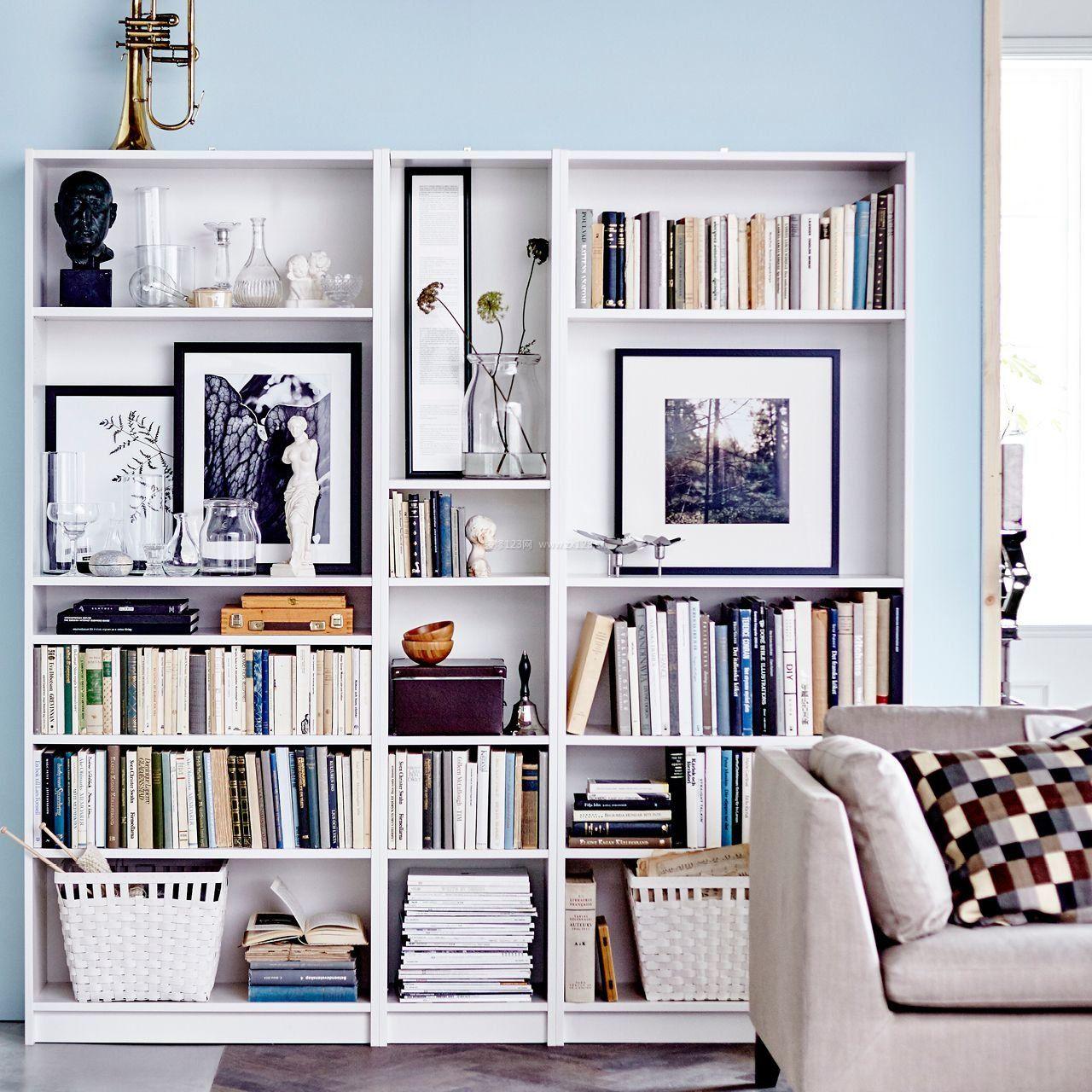 2018现代客厅简易书架_装修123效果图图片
