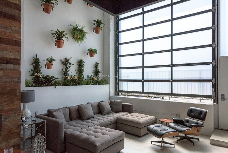 挑高学历沙发背景层次墙设计图模具设计客厅植物图片