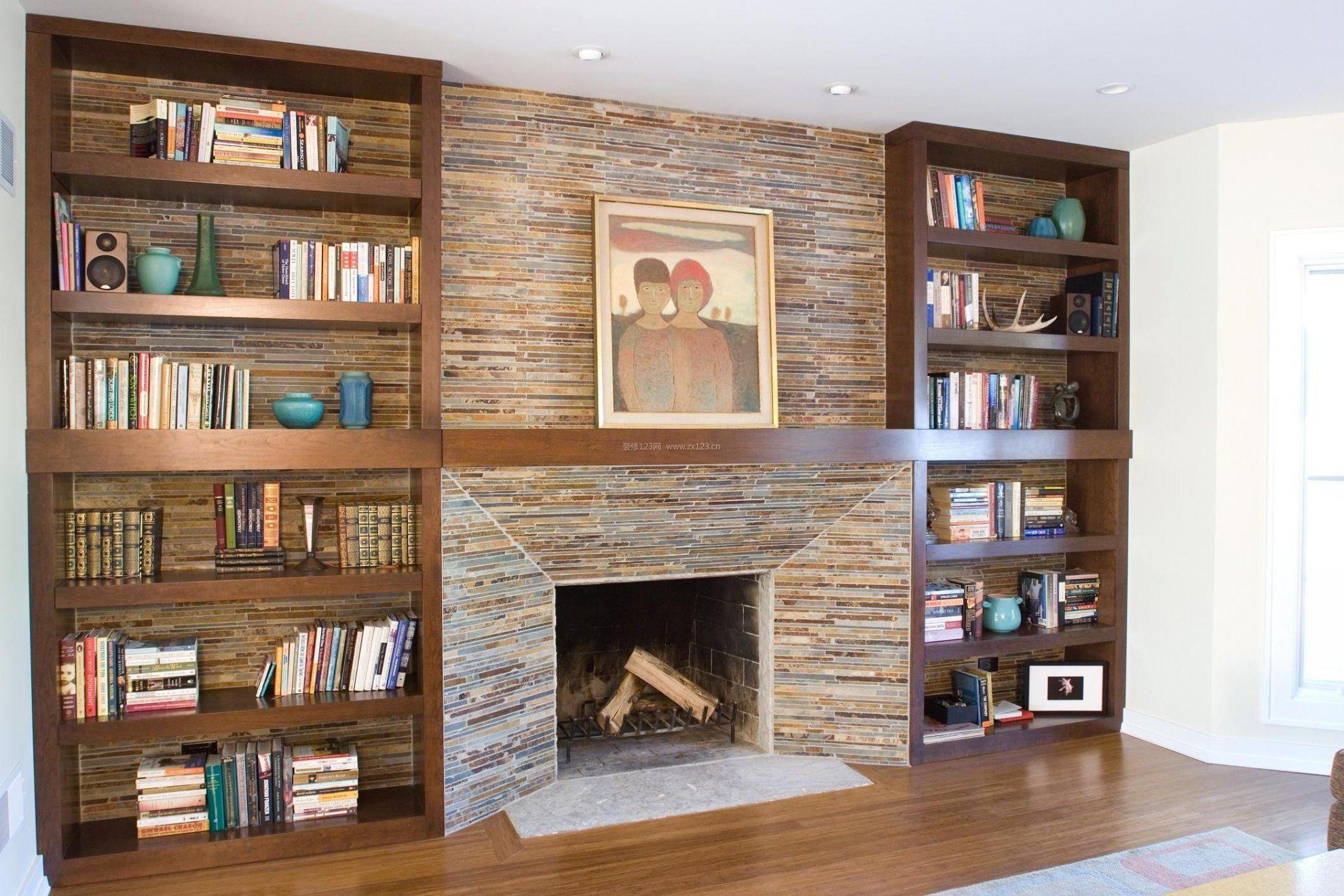 2018客厅简易书架电视墙设计大全_装修123效果图图片