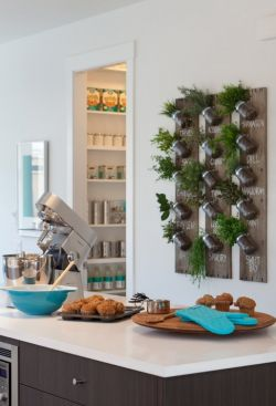 廚房背景裝飾植物墻設計圖