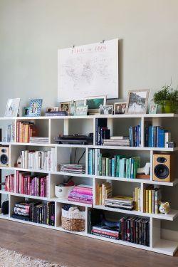 2018客厅简易书架背景墙效果图图片