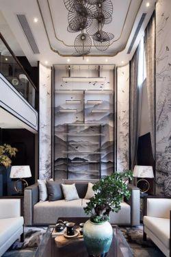 新中式风格三室两厅时尚客厅多人沙发背景墙装饰效果图图片