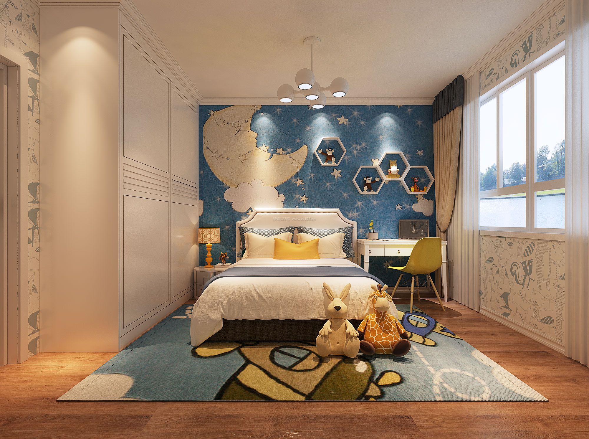2018现代儿童房床头背景墙设计装修效果图大全图片