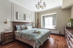 简约美式卧室飘窗窗帘装修效果图片2018图片