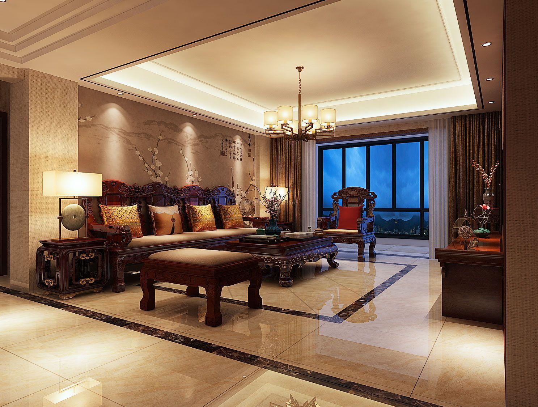 2018新中式客厅沙发装修效果图大全