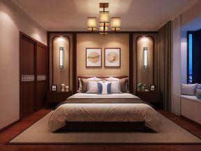 2018新中式风格卧室效果图 2018床头壁灯装修效果图图片