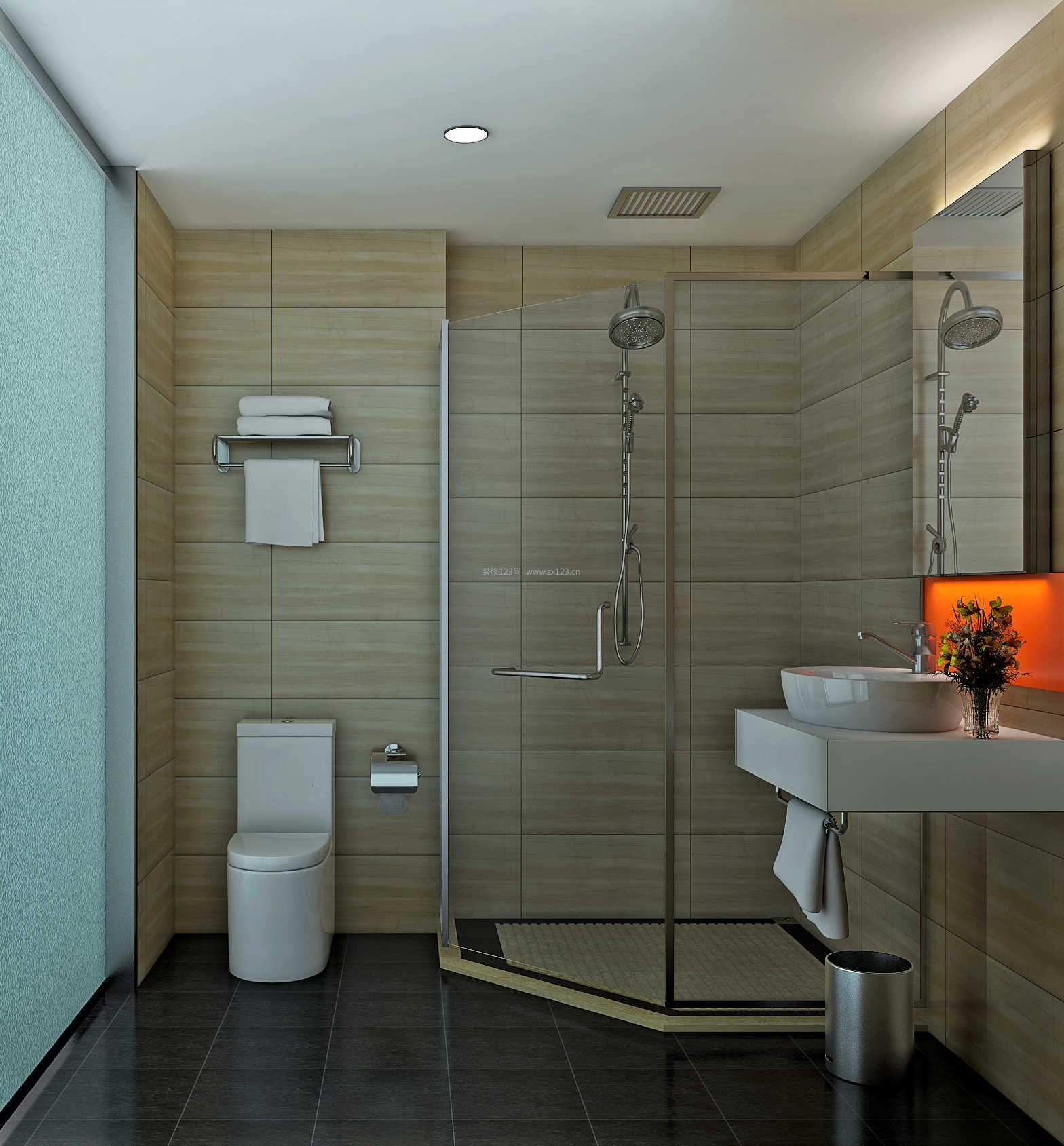 宾馆房间卫生间玻璃淋浴间装修效果图片