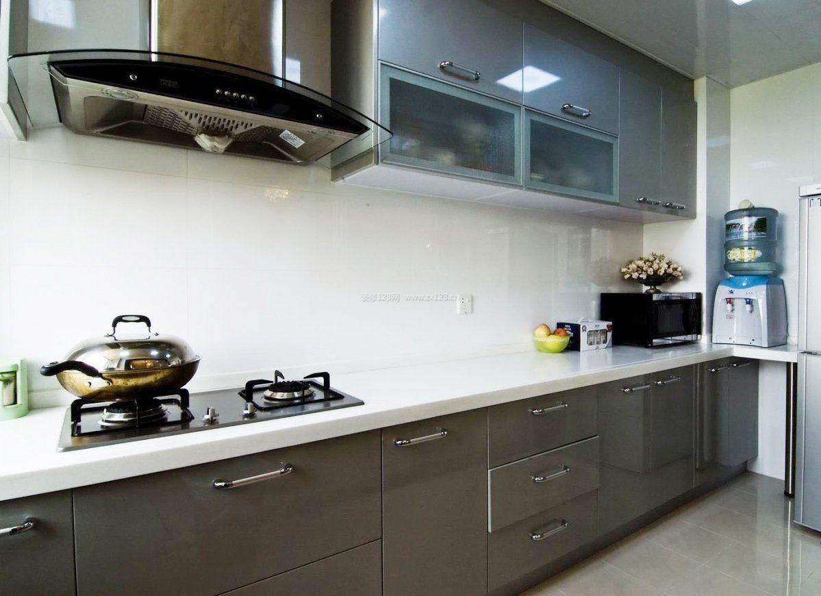 2018一字型小厨房橱柜颜色_装修123效果图