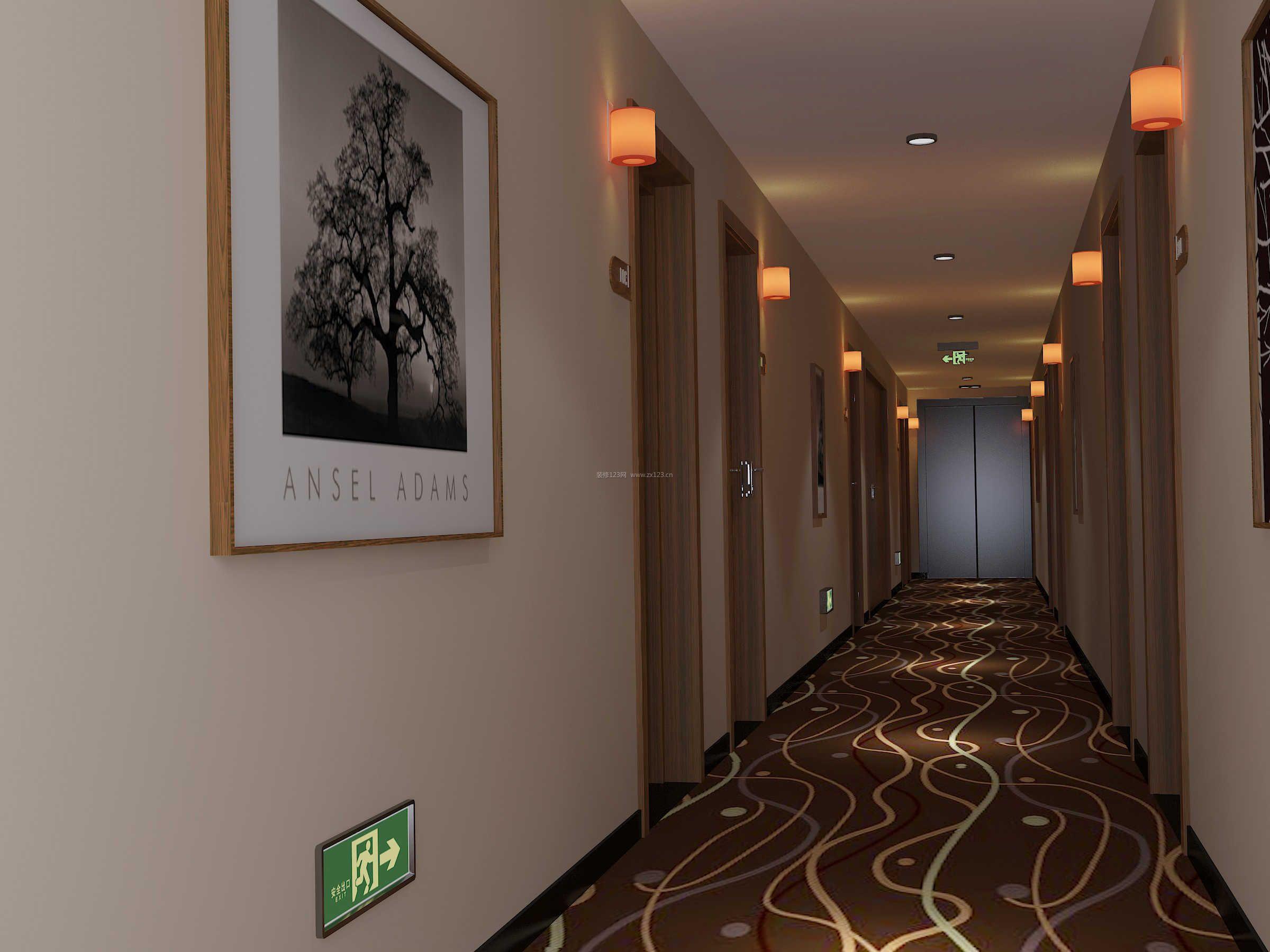 2018现代宾馆过道地毯装修效果图