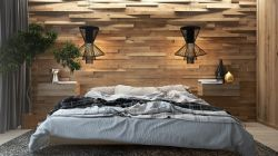 現代北歐風格臥室床頭背景墻裝修設計效果圖片