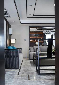复式楼新中式客厅吊顶灯饰装修效果图图片