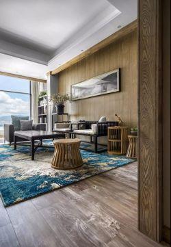 2018新中式豪宅客厅地毯装修效果图图片