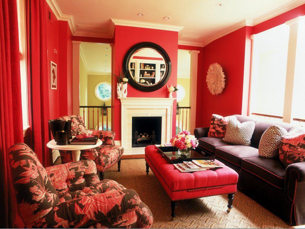 2018别墅室内装修红色沙发客厅效果图