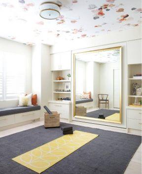瑜伽房吊顶花纹装修设计效果图图片