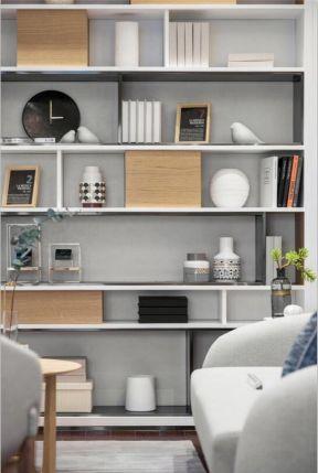 2018现代公寓装修效果图 2018开放式书柜设计图片图片