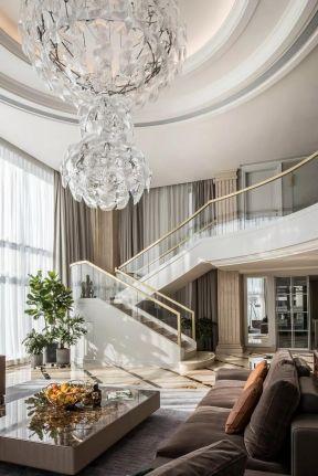 豪宅别墅 2018复式楼客厅楼梯效果图片图片