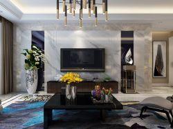 2018现代简约客厅新款电视墙装修效果图图片
