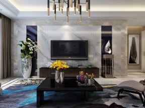 2018现代简约客厅装修图 2018新款电视墙装修效果图图片