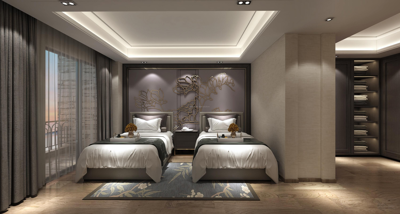2018简约新中式卧室双人房装修效果图片