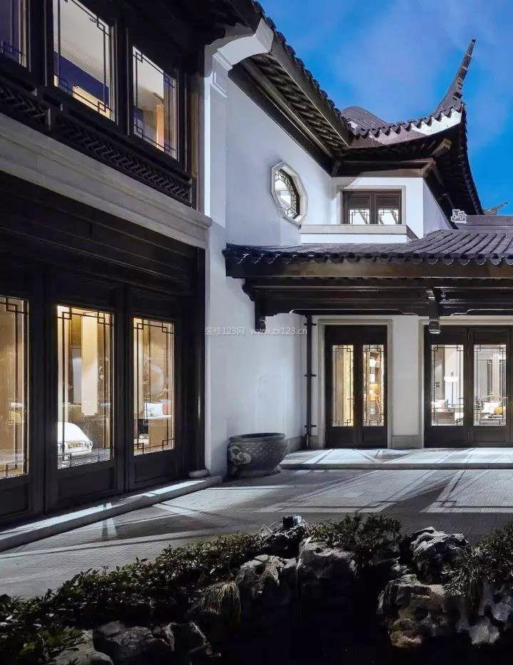 苏州园林式别墅中式窗户效果图2018图片