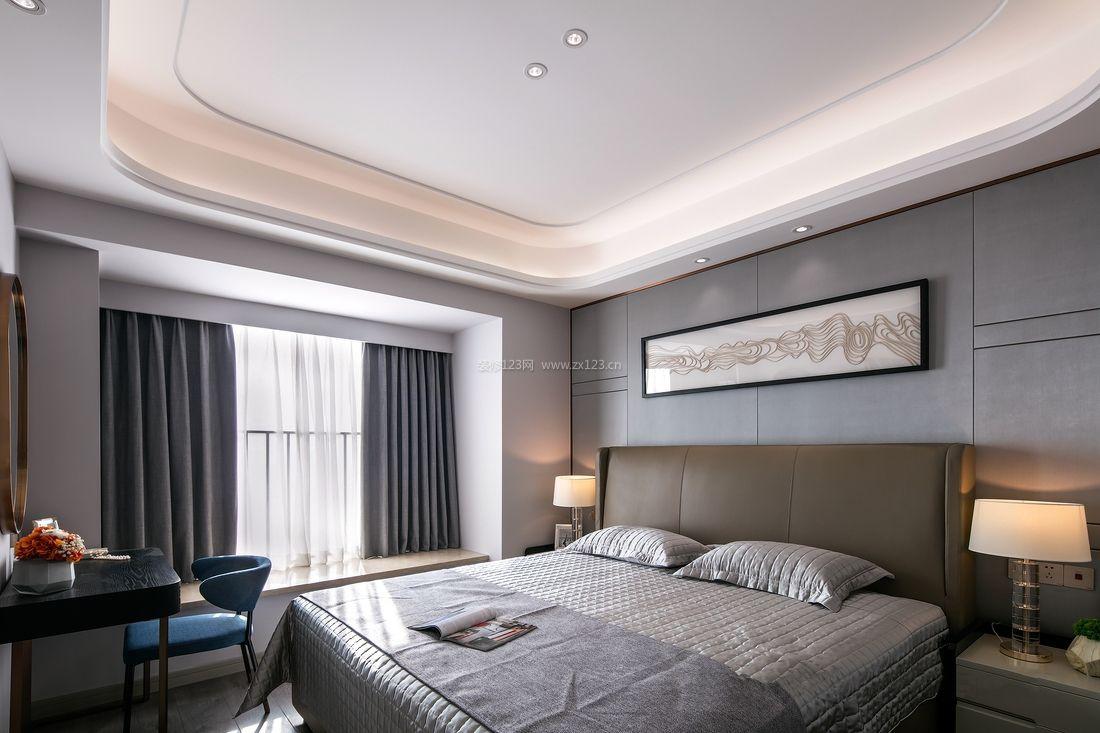 2018现代主卧室石膏板吊顶装潢设计效果图