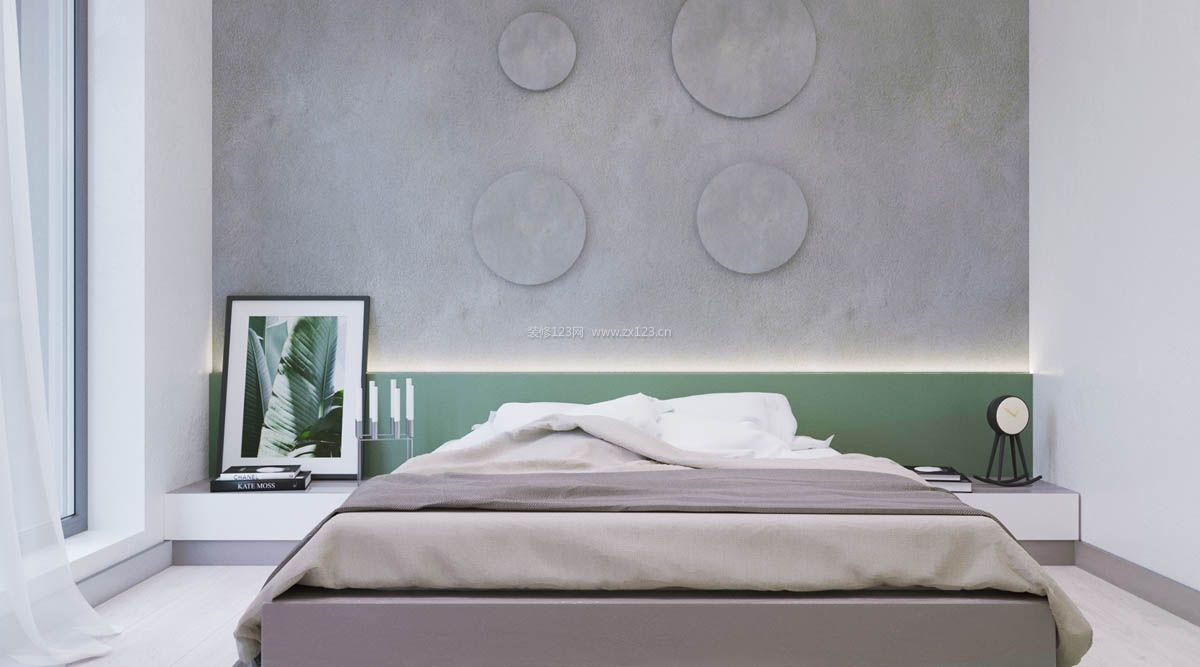 2018现代北欧简约卧室床头背景墙装修设计效果图图片
