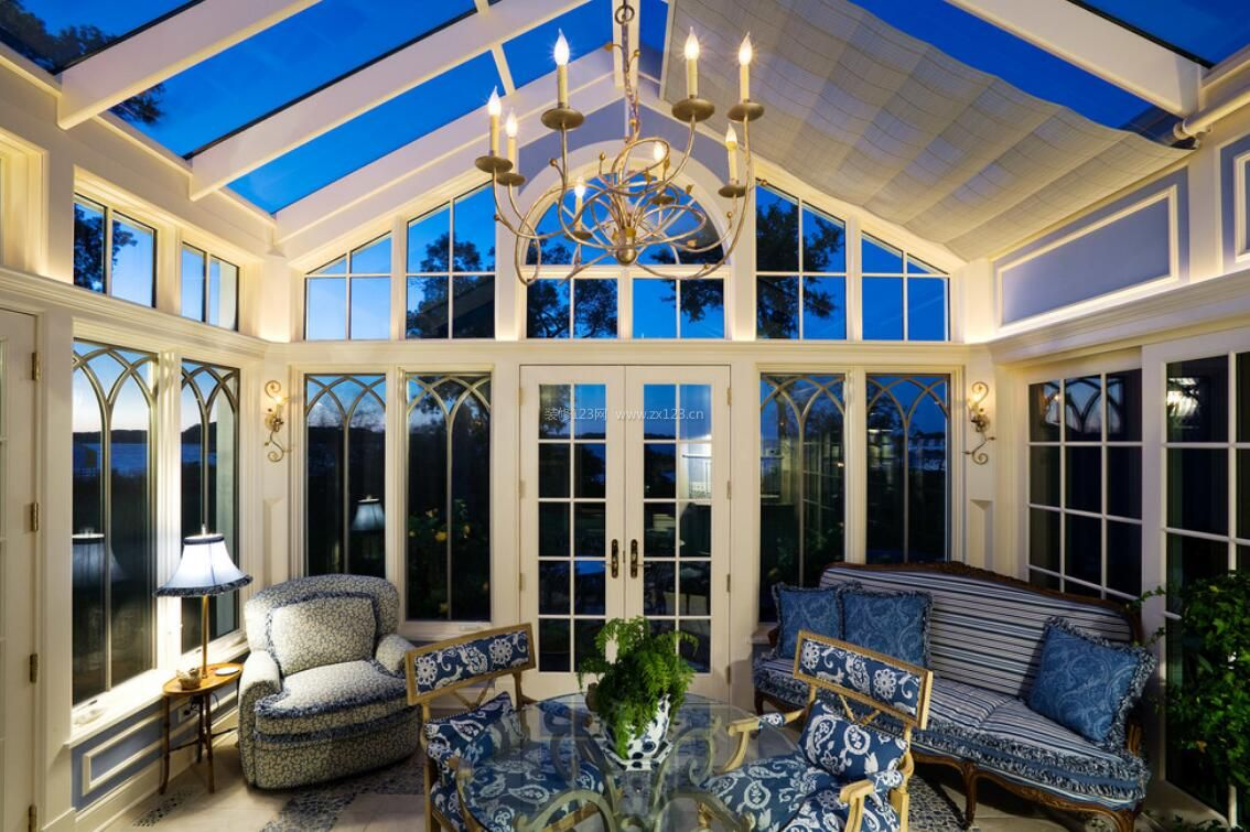 纯欧式家庭阳光房玻璃房顶设计图片图片