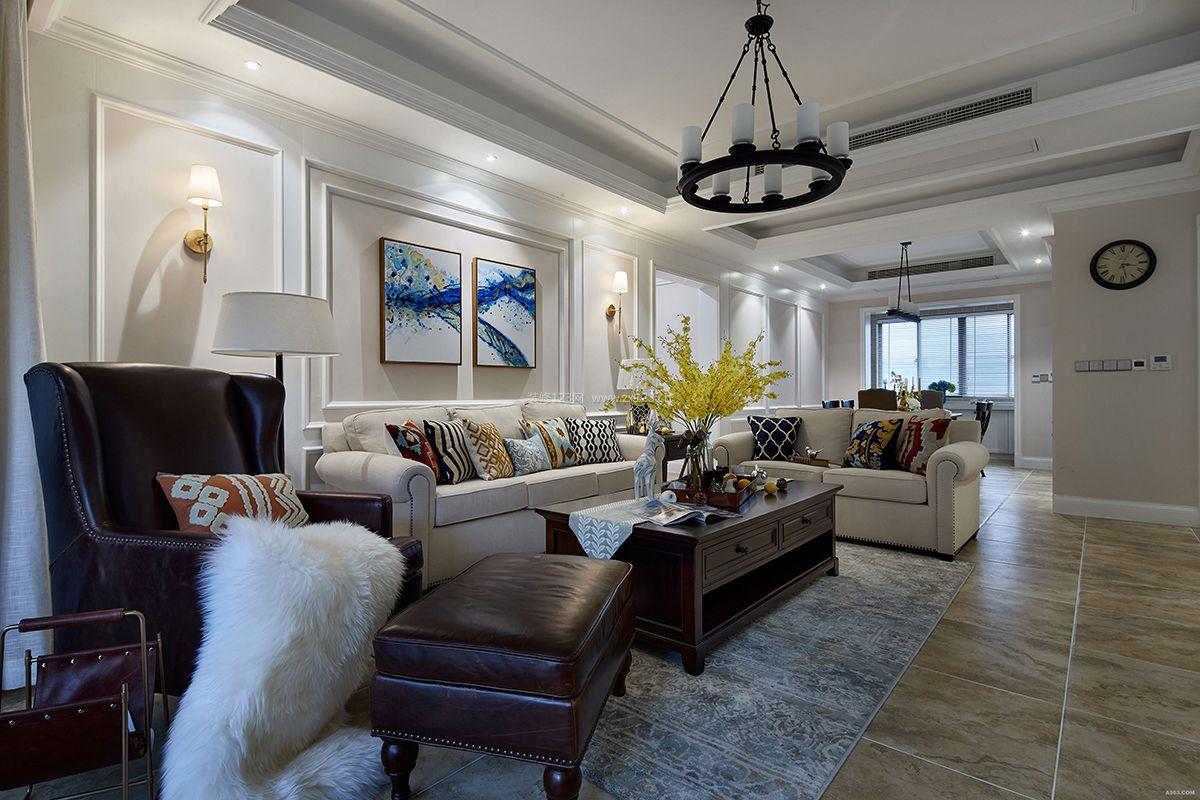 2018美式家装客厅沙发背景墙设计装修效果图图片