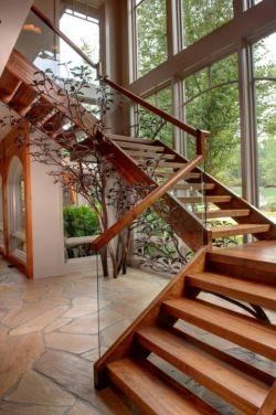 2018国外别墅木结构楼梯设计