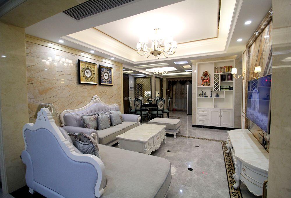 简约欧式客厅瓷砖背景墙装修效果图图片
