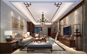 2018时尚新中式家装效果图 电视机背景墙设计图片
