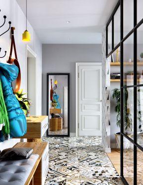 小户型北欧风格过道玻璃隔断装修效果图-2018现代客厅过道吊顶设